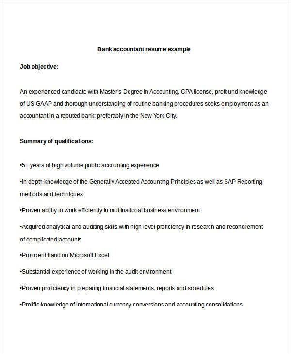 sample bank accountant - Banking Accountant Sample Resume
