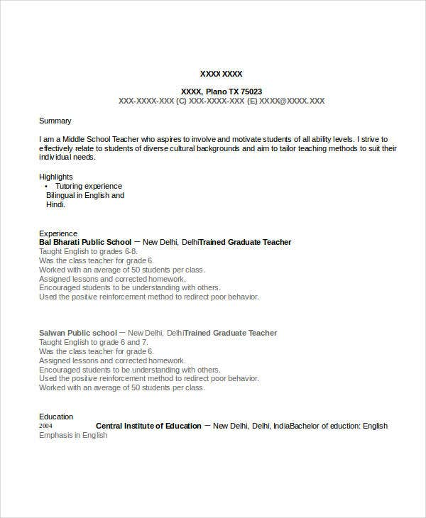 trained graduate teacher resume example