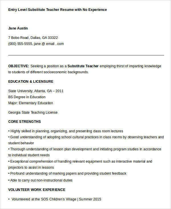 Substitute Teacher Resume Samples For Entry Level With No Experience