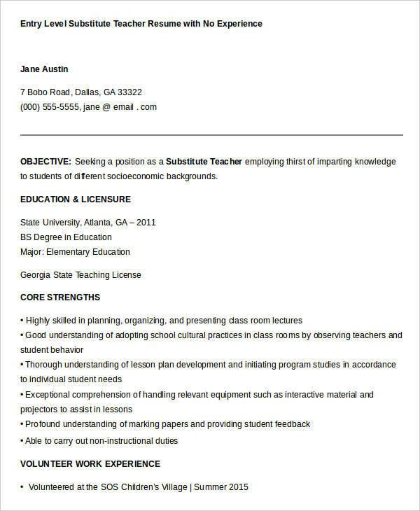 Preschool sample resume teacher resume