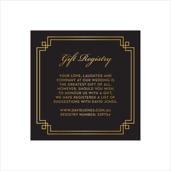 Template For Wedding Gift List : Gift Card Templates Free & Premium Templates
