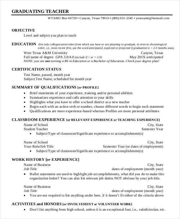 example of resume for graduate teacher