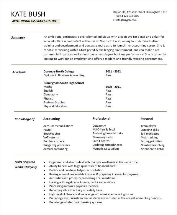 account assistant resume