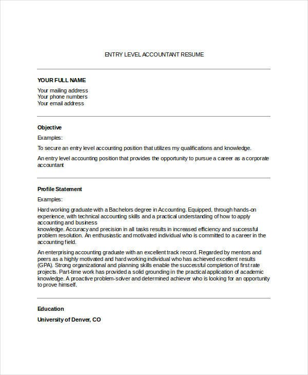 35 Accountant Resume Design Templates Pdf Doc Free