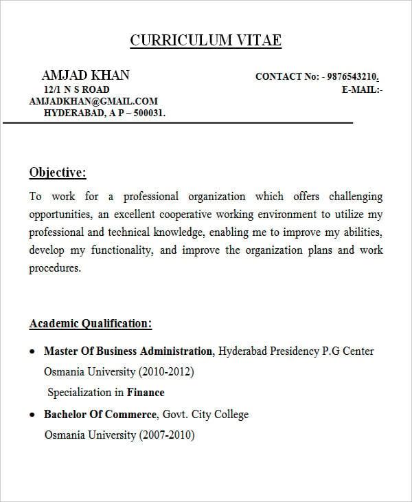 28  free fresher resume templates