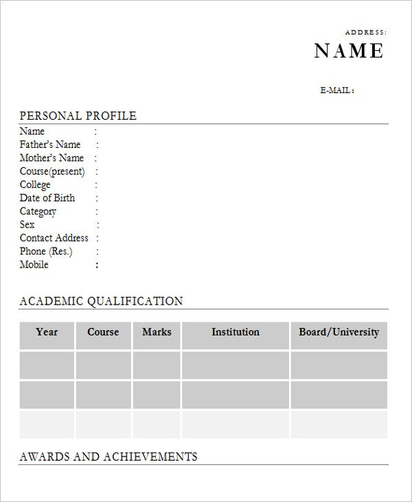 28+ Free Fresher Resume Templates