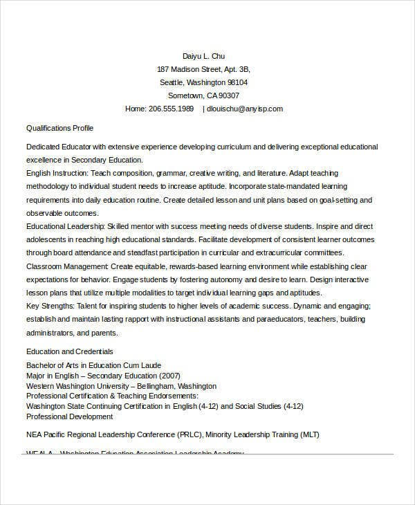 teaching resume professional development – Experienced Teacher Resume