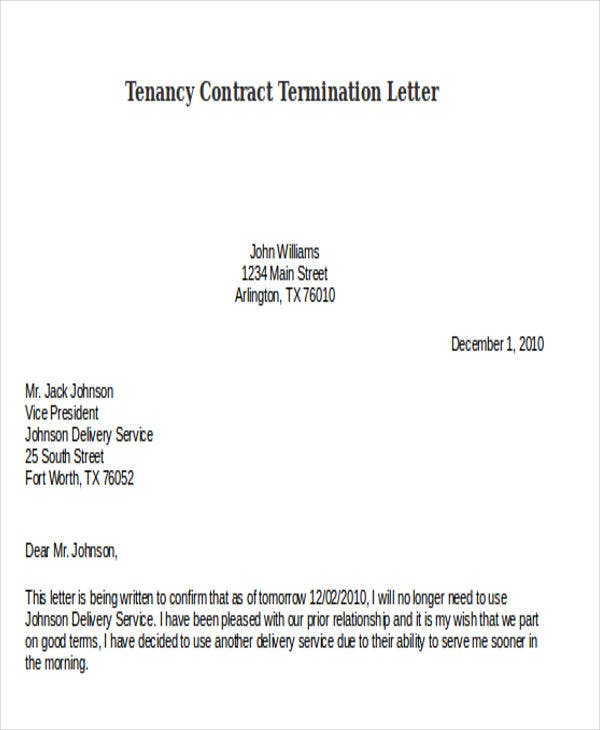 tenancy contract termination letter template1