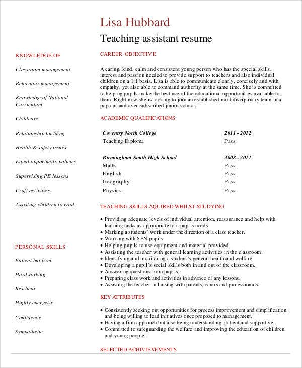 student teaching assistant resume cv template - Cv Resume Sample For Teacher