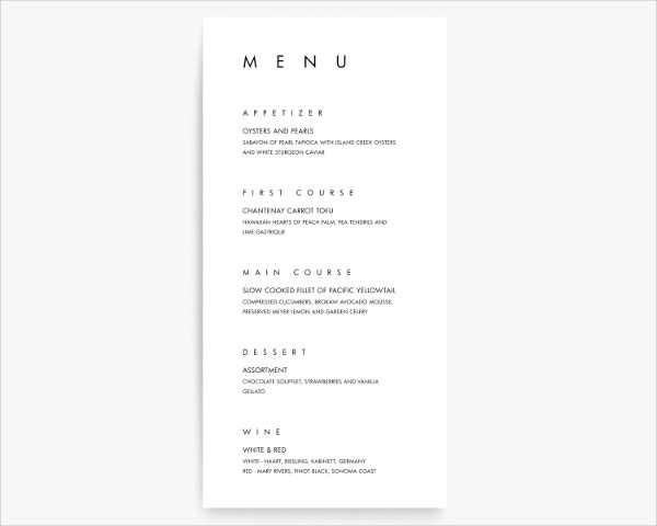 modern menu card