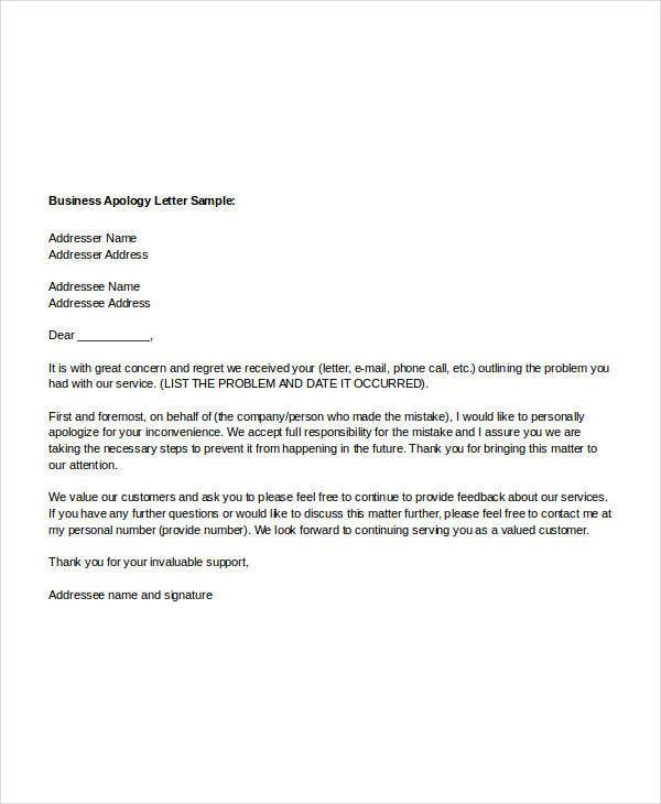 Sample Apology Letter Templates 13 Free Word PDF Documents – Example of Apology Letter to Customer