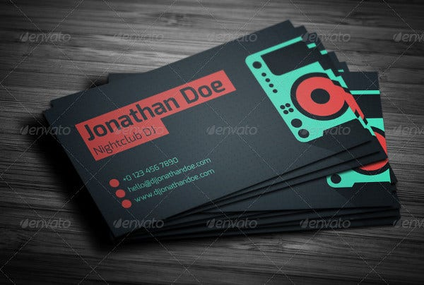 Business card examples free premium templates flat dj business card colourmoves