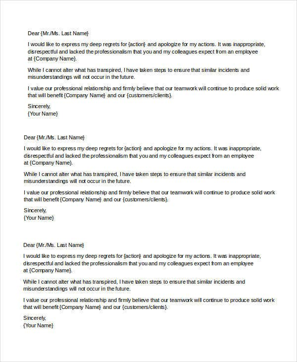 Sample Apology Letter Templates 13 Free Word PDF Documents