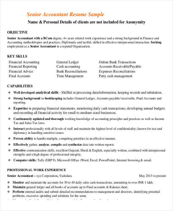 Senior Accountant Example  Senior Accountant Resume