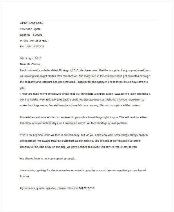 Sample Apology Letter Templates   Free Word Pdf Documents