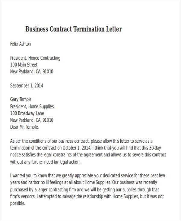 Free Sample Business Contract Termination  Business Termination Letter Sample