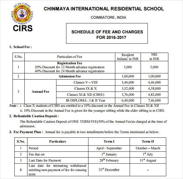 school fee card pdf