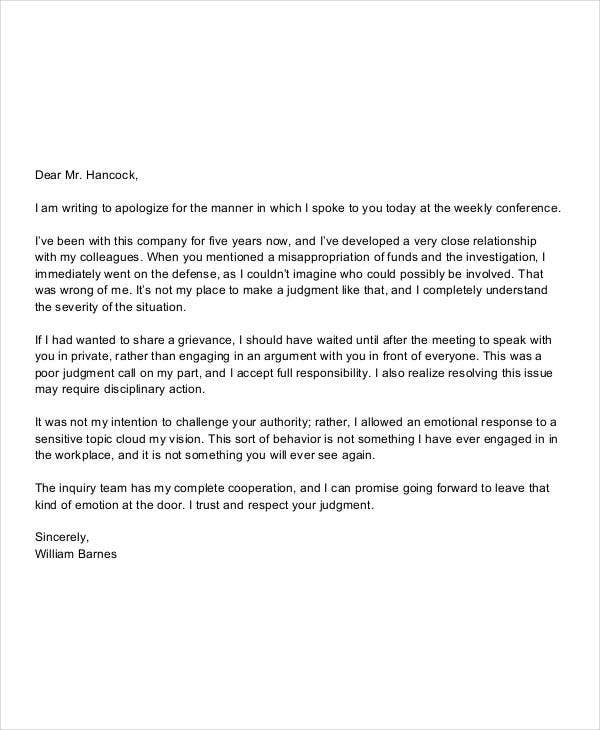 Sample Apology Letter Template - 16+ Free Word, PDF Documents