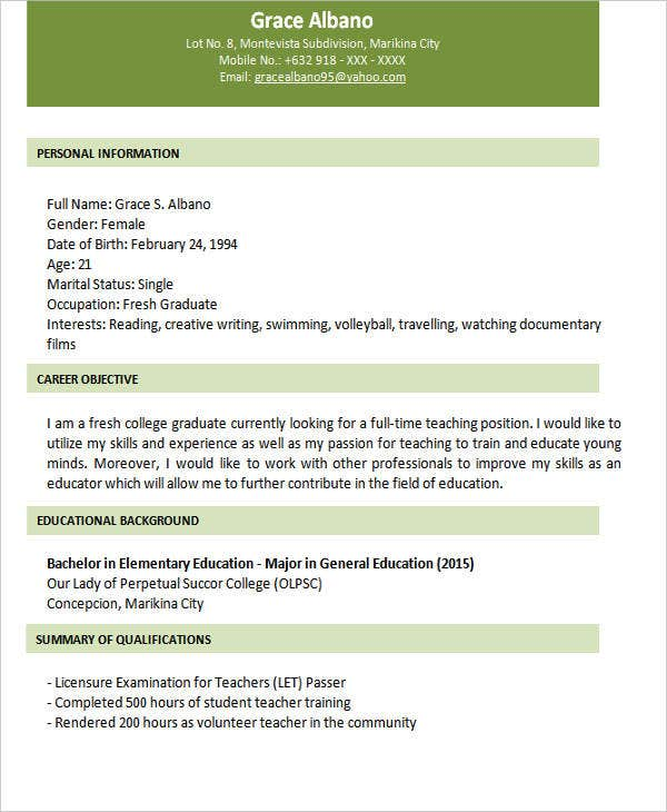 fresher graduate resume format