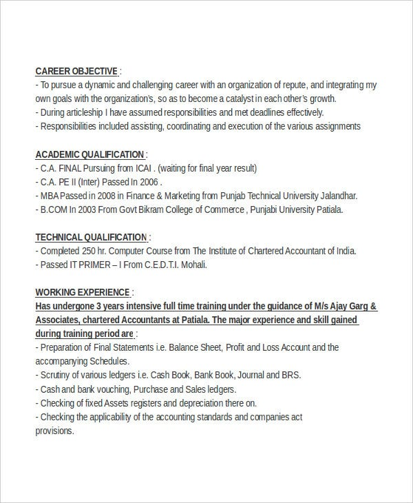 chartered accountant resume objective2