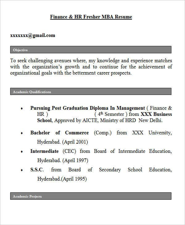 Fresher HR Resume Objective