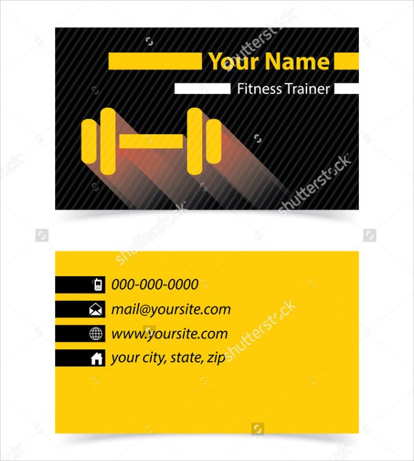 gym visiting card
