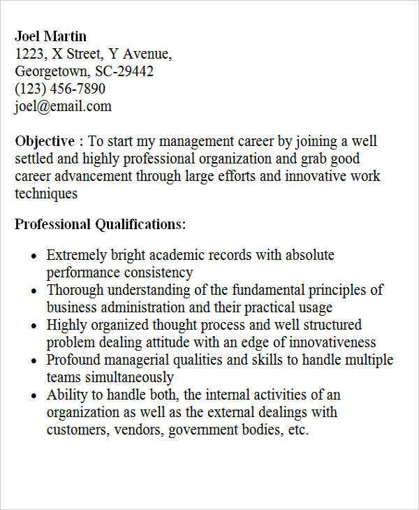 Sample Mba Resume For Freshers Fred Resumes