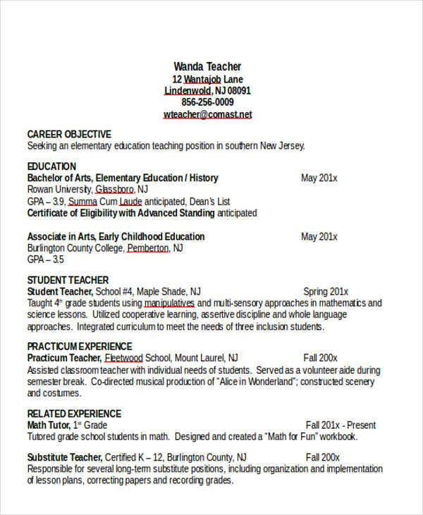 25 Teacher Resumes in Word Free Premium Templates