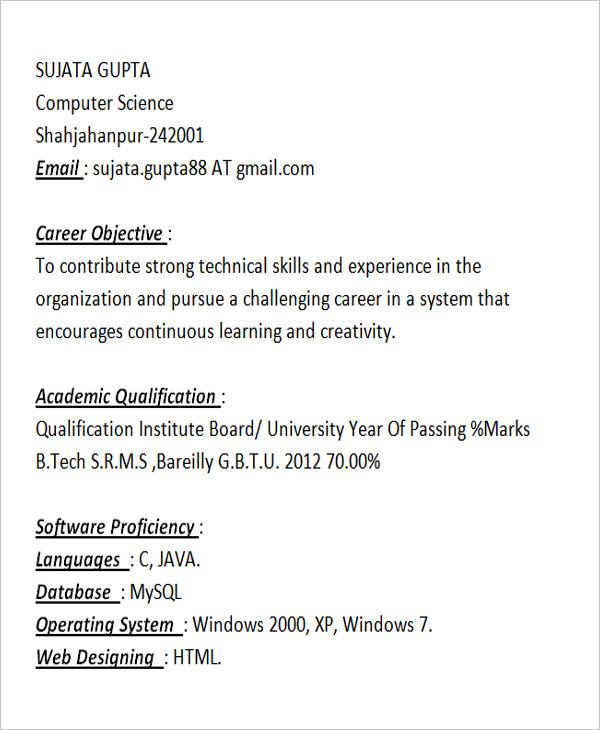 fresher java programmer resume