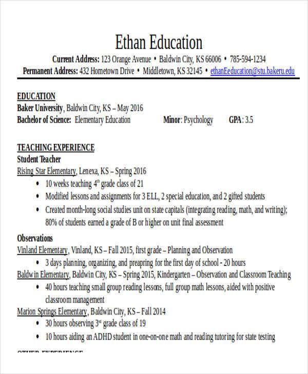 Teacher Resumes In Word  Free  Premium Templates
