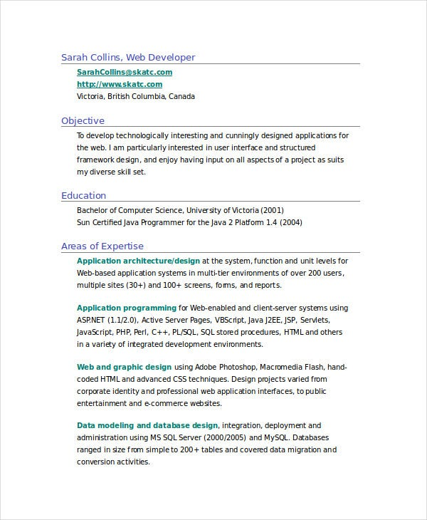sample web designer resume in doc - Computer Science Resume Canada