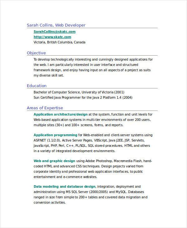 resume sample for web developer