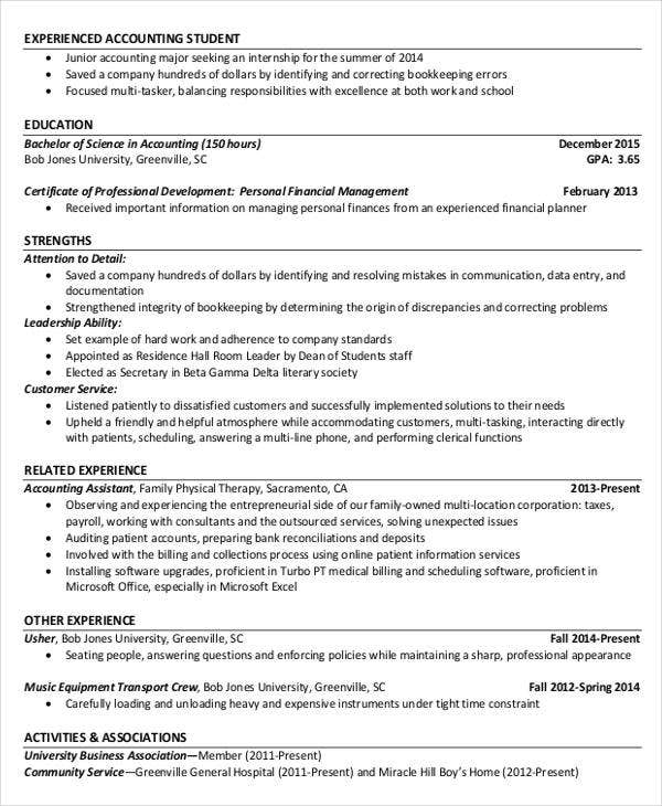 resume example for project accountant