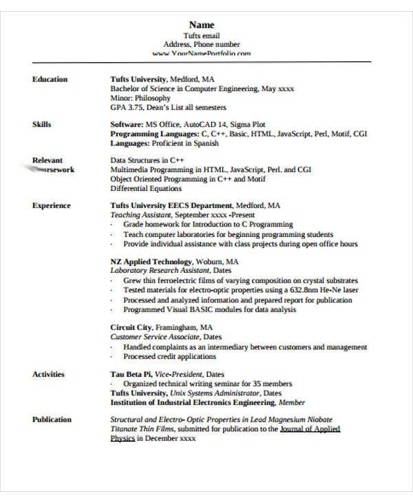 free sample engineering resume1