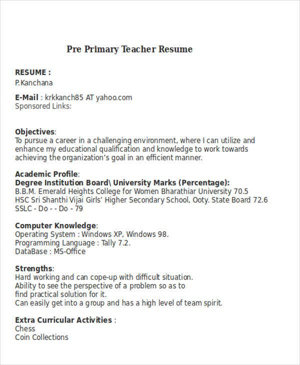 25  teacher resume templates in word