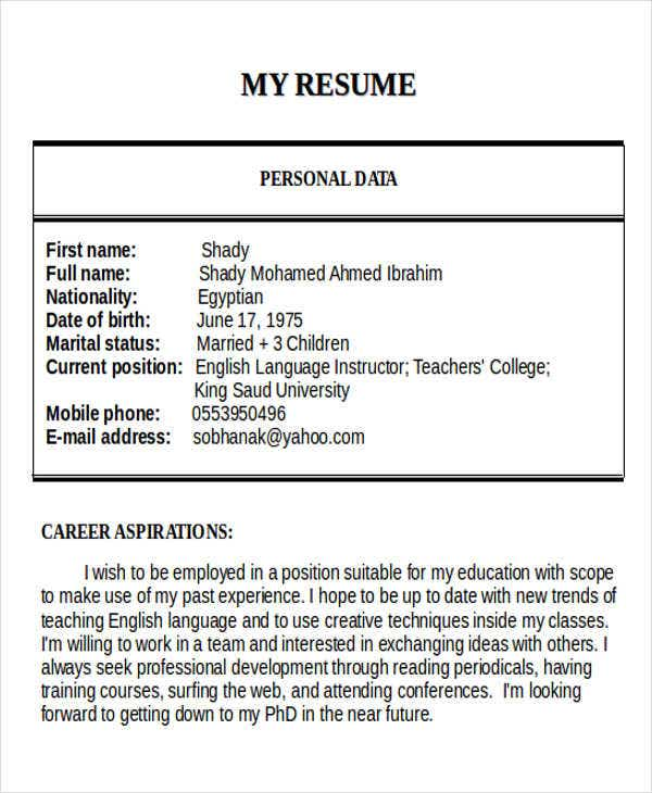english teacher cv word format resume samples template primary
