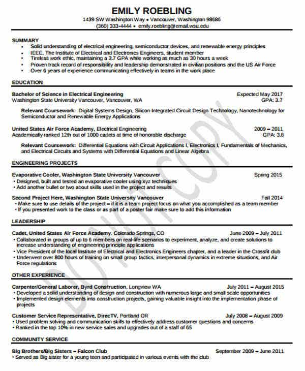 free electrical engineering resume