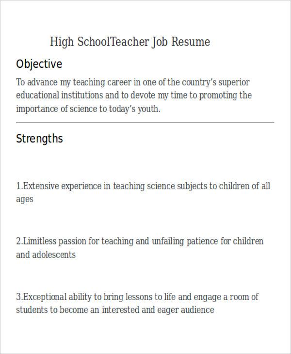 high school teacher job resume1