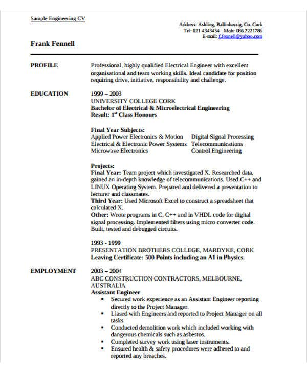 experienced professional engineering resume
