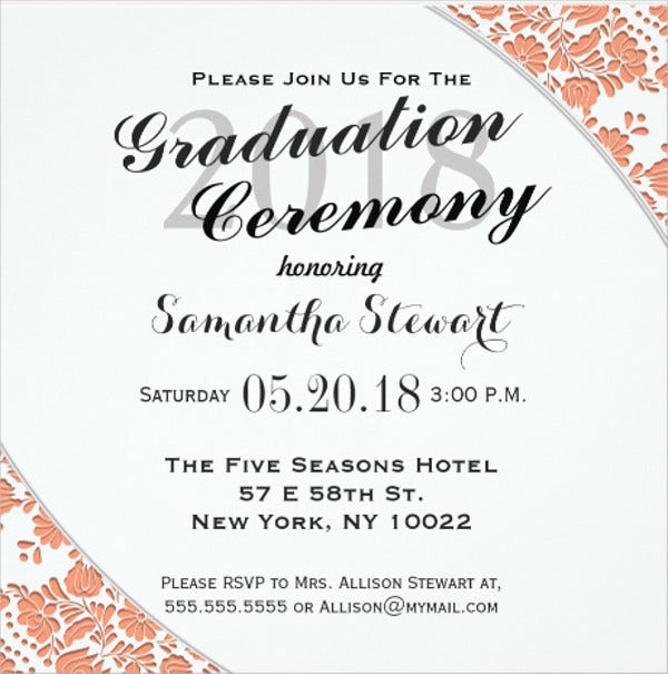 Graduation Ceremony Invitation Card