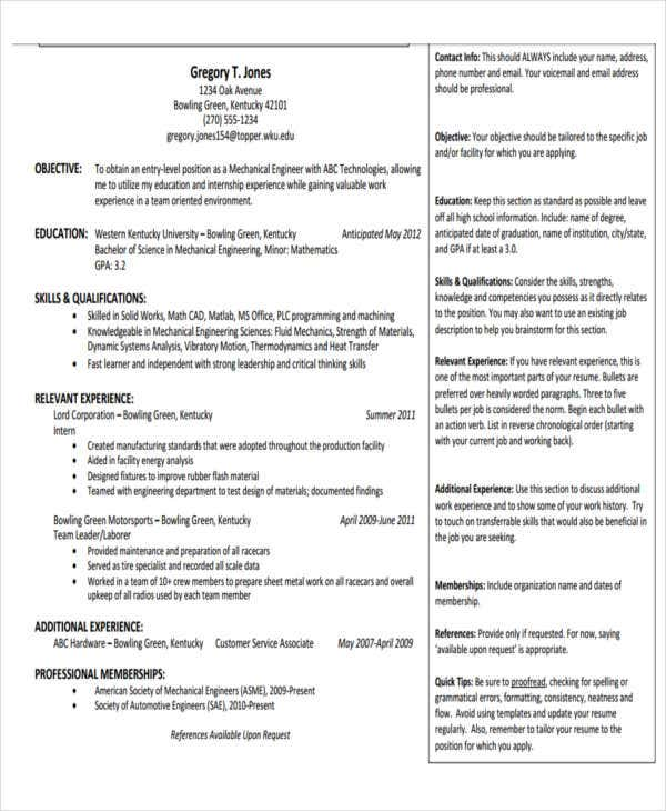 fresher engineer professional resume