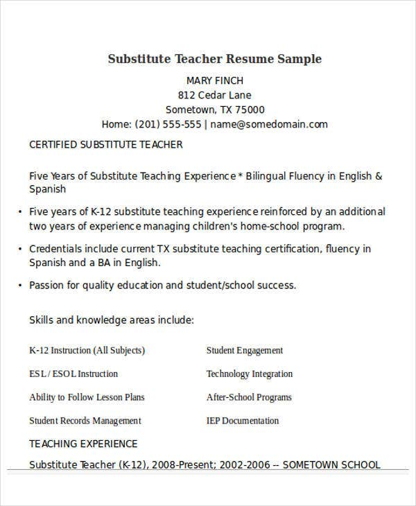 Resume For Teachers Samples. Download Elementary Teacher Resume