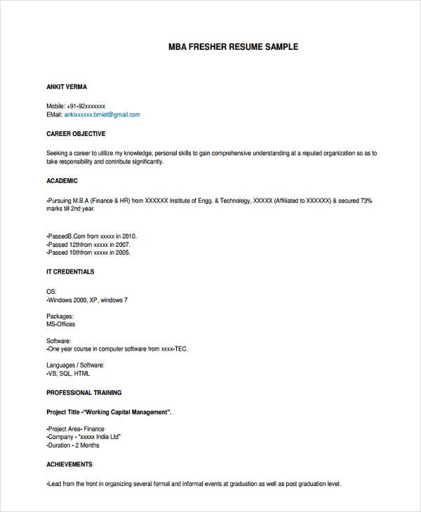 hr fresher professional resume