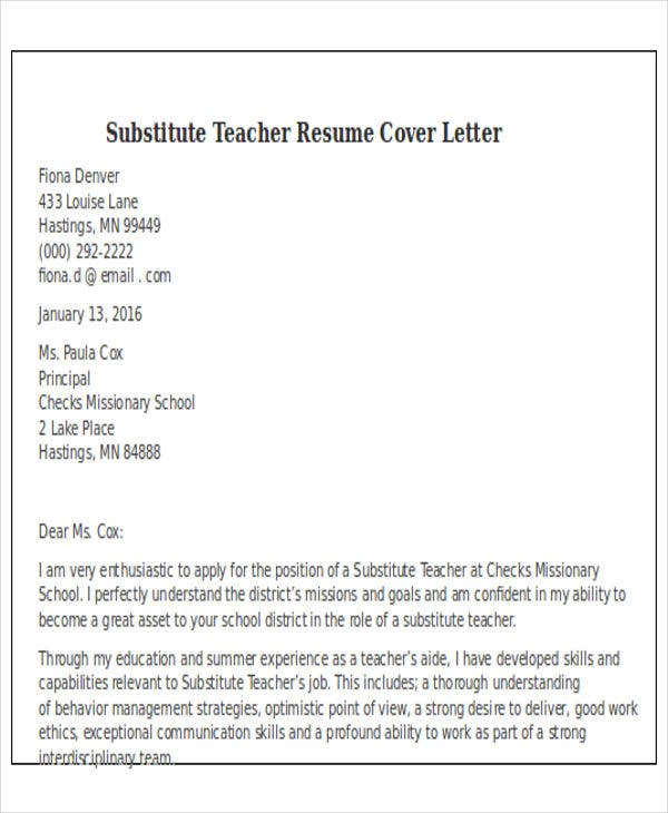 Subsute-Teacher-Resume-Cover-Letter1 Sample Cover Letter For Teacher High on for high school science, elementary art, for special education, first year, school spring math, for 1st grade, for preschool assistant,
