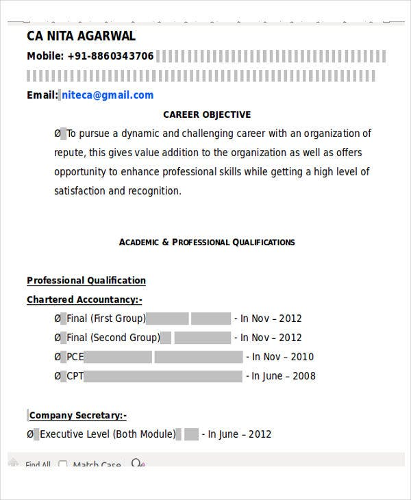 ca fresher professional resume