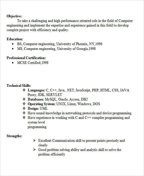 Fresher Computer Engineer Resume  Technical Skills For Resume