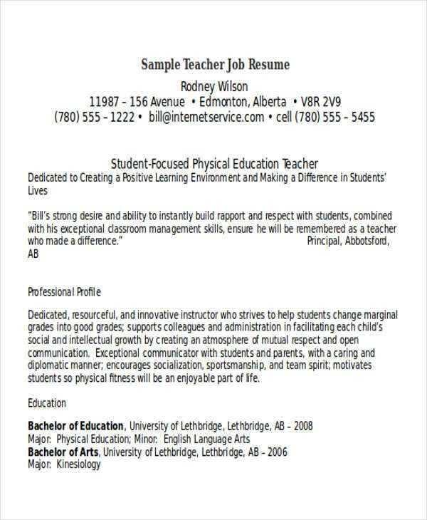 Resume Teacher Examples. Teacher Resume Sample - 29+ Free Word
