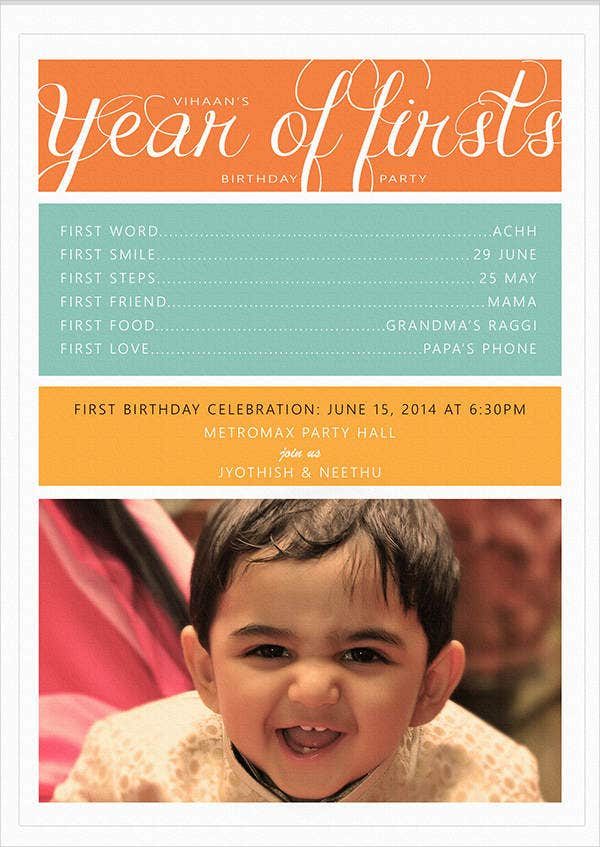 first birthday invitation card1