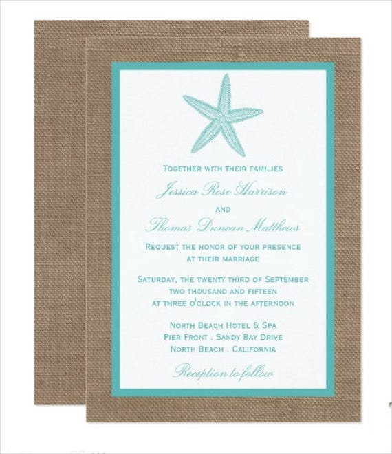 wedding beach invitation card