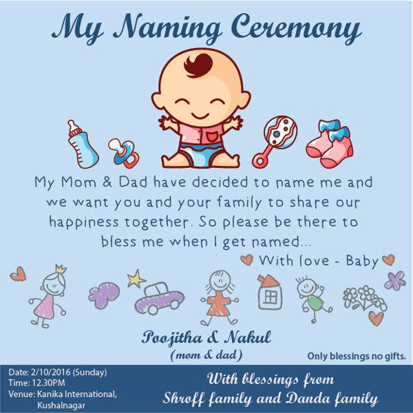 49 Invitation Card Examples Free Sample Example Format – Naming Ceremony Invitation Template